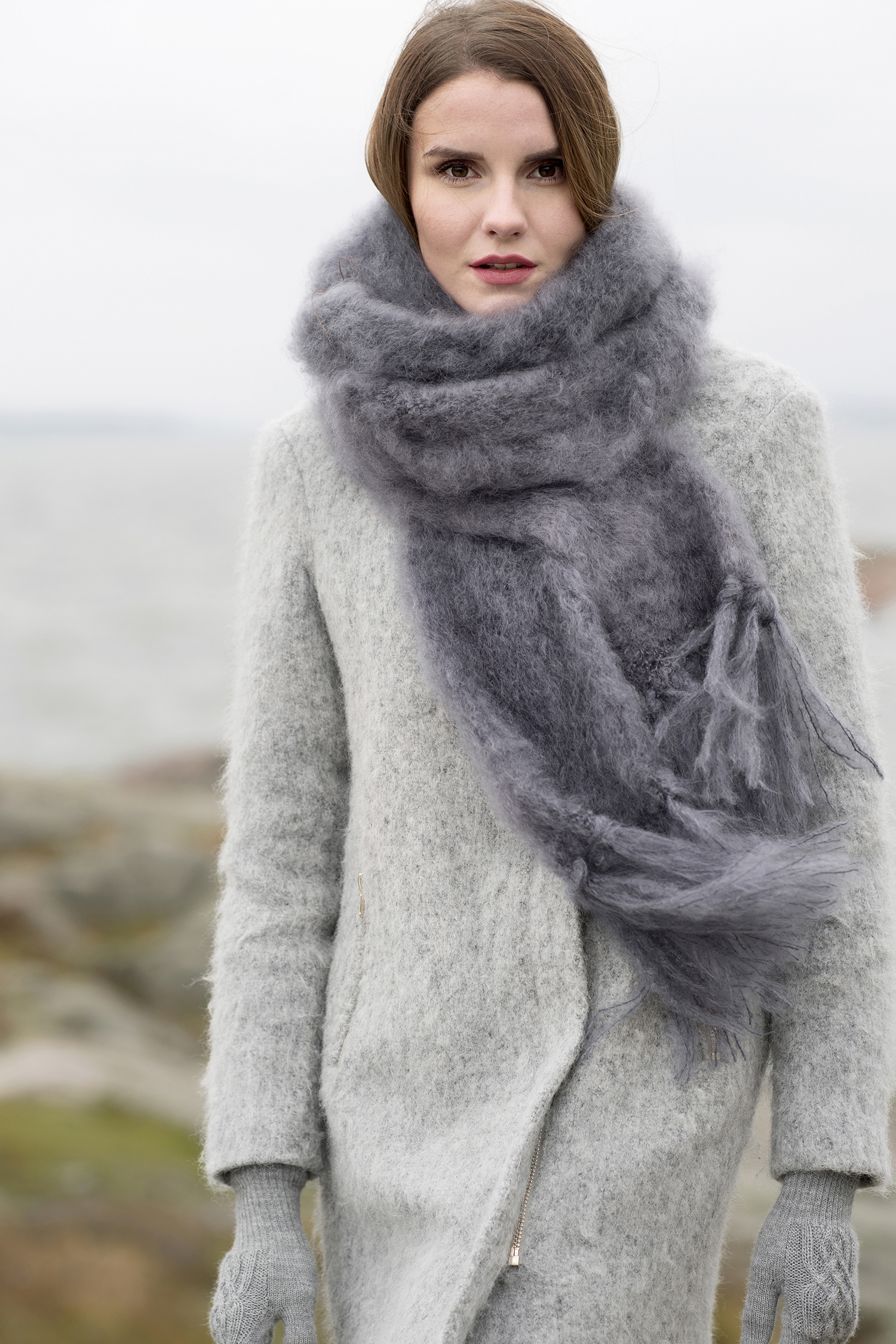 KID MOHAIR WIDE SCARF - Nordic Swan Living