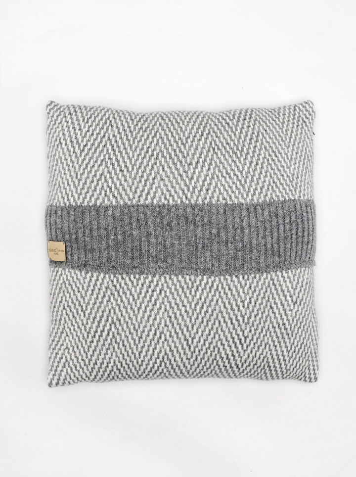 Wool cushion grey herringbone