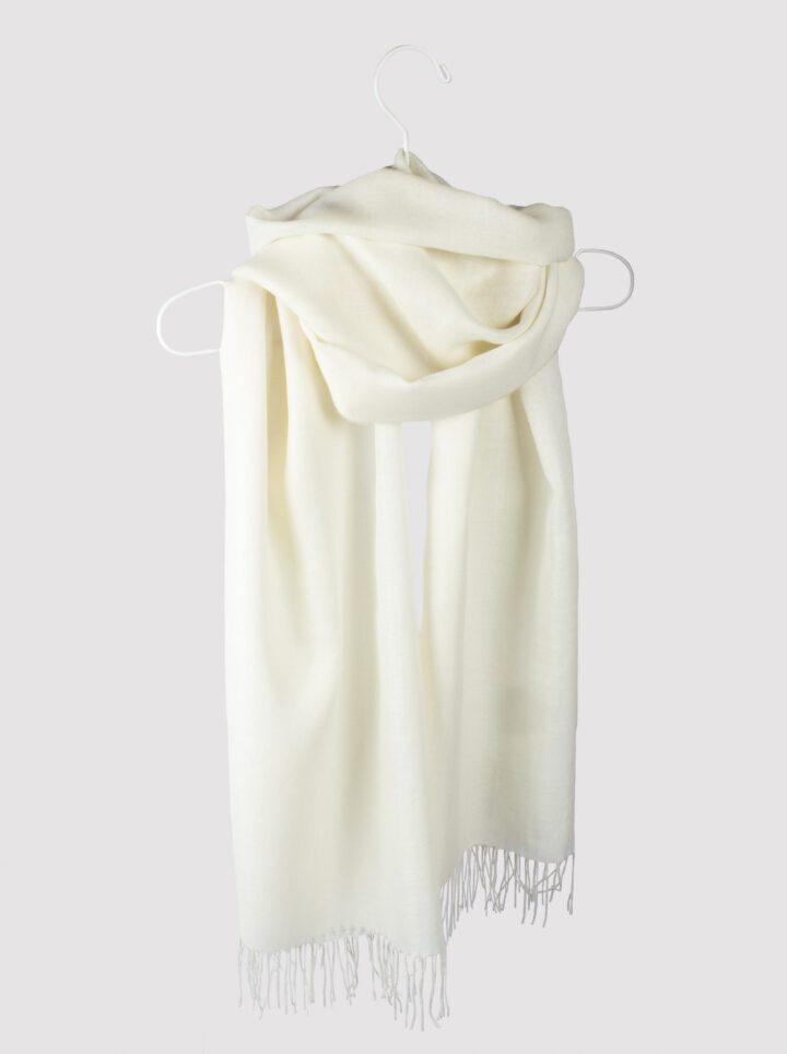 Baby alpaca silk scarf ivory