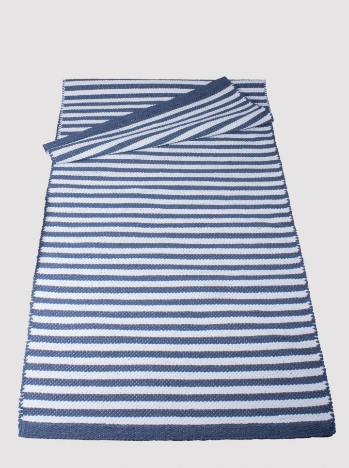 Cotton rug Kaisla blue white