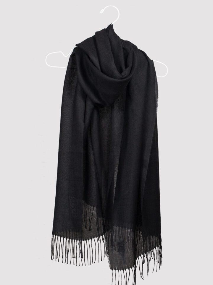 alpaca silk scarf black