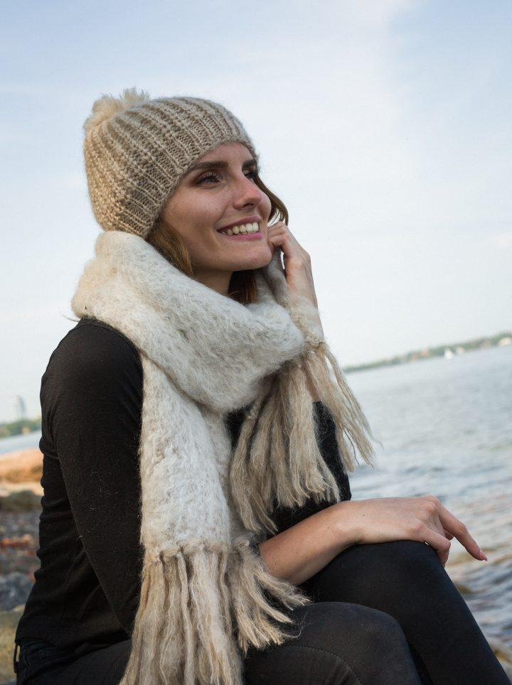 Nordic Swan Living mohair pipo huivi scarf beanie